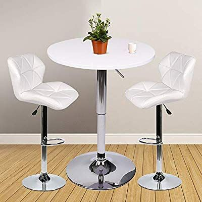 Yourliteamz Bar Table Set Of 3 Adjustable Round Table And 2 Swivel Pub Stools For Home Kitchen Bistro Bars Wine Bar Table Sets Bar Stool Table Set Bar Table