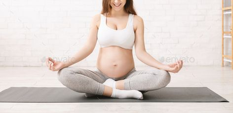 Active pregnant woman meditating in lotus position at home by Prostock-studio. Active pregnant woman meditating in lotus position at home, panorama #AD #meditating, #lotus, #woman, #Active
