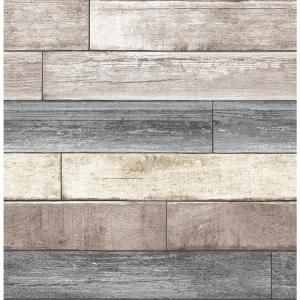Nuwallpaper Reclaimed Wood Plank Natural Textured Vinyl Strippable Wallpaper Covers 30 75 Sq Ft Nu1690 The Home Depot Wood Plank Wallpaper Wood Wallpaper Faux Wood Wall
