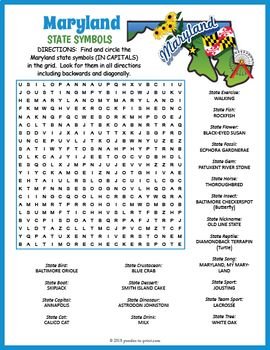 Maryland State Symbols Word Search Fun State Symbols Social Studies Worksheets Word Find