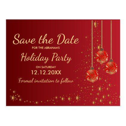 Elegant Festive Christmas Party Save The Date Announcement Postcard Zazzle Com Postcard Christmas Cards Save The Date Postcards Christmas Postcard