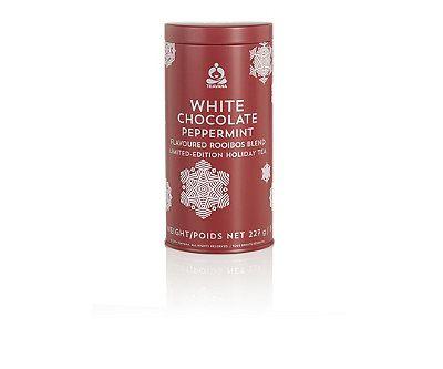 Inspired by decadent holiday treats, this rooibos tea mingles rich, creamy white chocolate balanced exquisitely with cocoa bits and the flavor of crushed candy cane pieces. $39.95 at teavana.com.