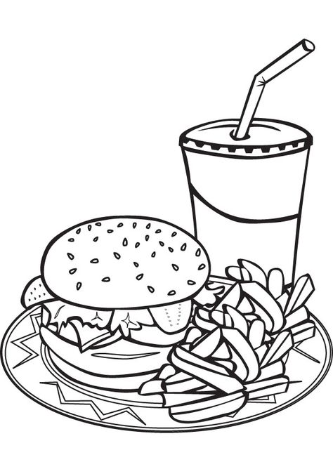 Hamburger + French Fry + Milkshake Coloring Sheet #Food #