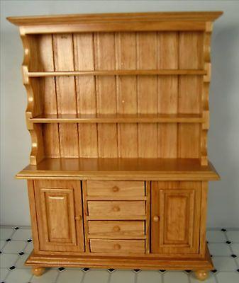 Dollhouse+Furniture+Wood+Hutch+Cabinet+Large+Miniature+Oak+