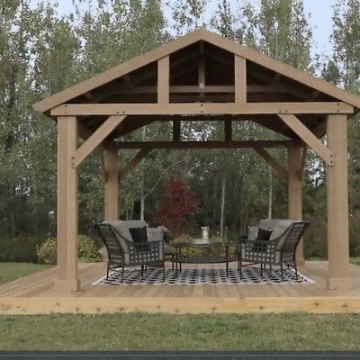 Outdoor Wooden Gazebo 14x12 Pavilion Metal Roof For Patio Furniture Set Hot Tubs Outdoor Pergola Backyard Pavilion Wooden Gazebo