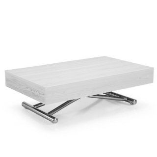 Table Basse Relevable Cube Chene Blanc Extensible 10 Couverts 799