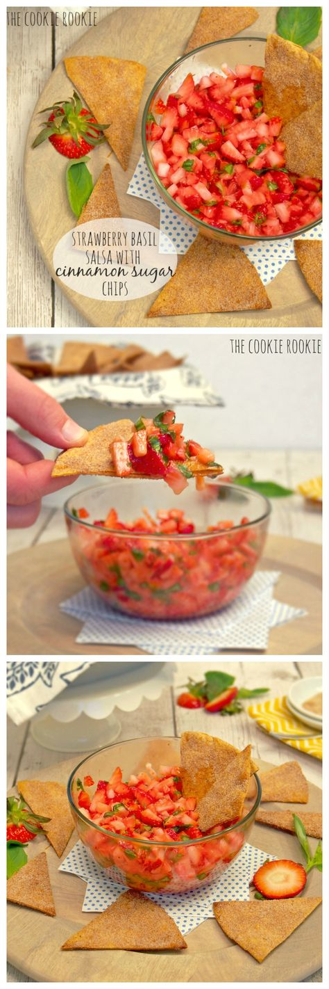 Strawberry Basil Salsa with Homemade Cinnamon Chips! Delicious, light, and EASY! Our favorite summer appetizer :) - The Cookie Rookie