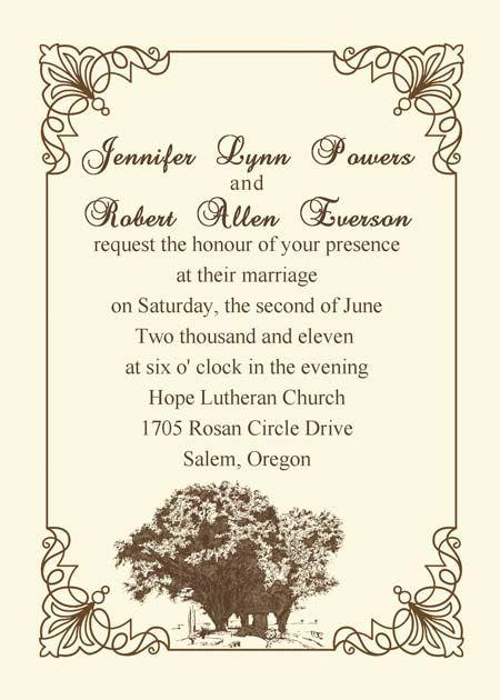 Older Couple Wedding Invitation Wording Vintage Tree Wedding
