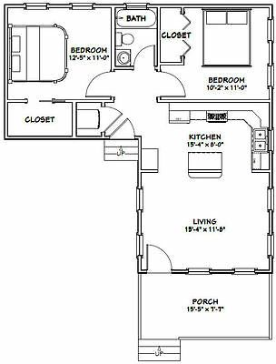 16x32 House 767 Sq Ft Pdf Floorplan 9ft Walls Model 2l Small Floor Plans Tiny House Floor Plans Tiny House Plans
