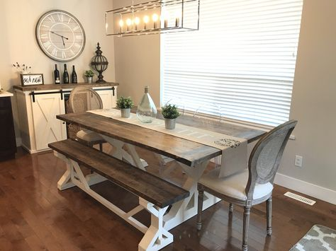Our Clients Surprised Us With This Recent Photo Of Their 8 Foot Trestle  Table With Matching Bench And Sliding Barn Cabinet. Great Photo