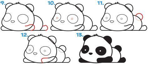 How To Draw A Super Cute Kawaii Panda Bear Laying Down Easy Step