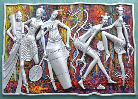 """Title:""""CELEBRATION"""". Medium: Oil Painting on Impregnated Resin(Mixed media/painting on sculpture)  Dimension:48 x 67 inches. Artist:Peter Akinwumi/ Nigeria."""