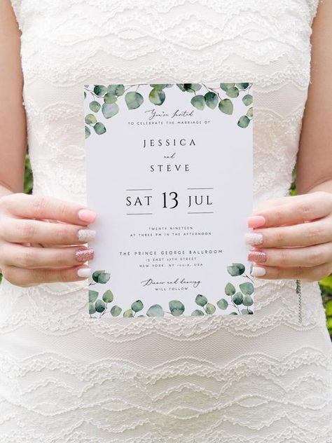 Greenery Wedding Invitation Template Eucalyptus Printable | Etsy