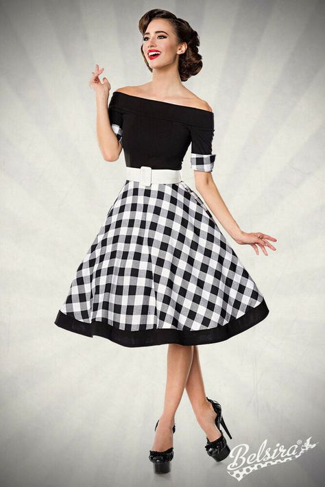 28b16d975e96e1 Schulterfreies Swing-Kleid Retrokleid mit Tellerrock Gürtel Belsira 50048 L