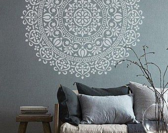 Wall Stencils Etsy Uk Spain Villa Mandala Stencils