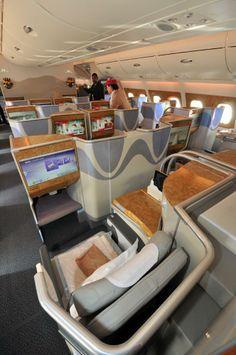 Emirates A380 business class cabin