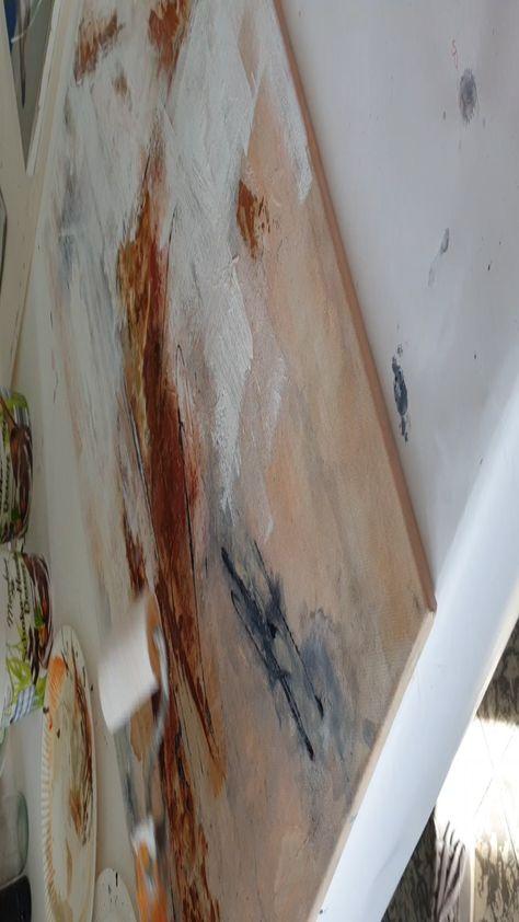 Freie Acrylmalerei. Acrylic painting. Rost, Spachtelmasse und Pigmente, alles wird Schicht für Schicht aufgetragen und im Bild eingearbeitet. Acrylmalerei, Workshops am Wochenende, Atelier - Malschule Mesch in Osnabrück.