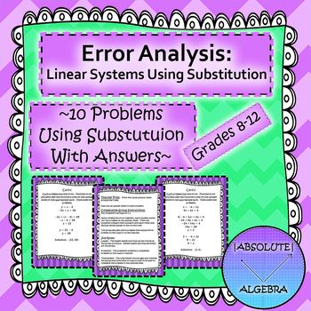 Solving Systems of Linear Equations using Substitution: Error