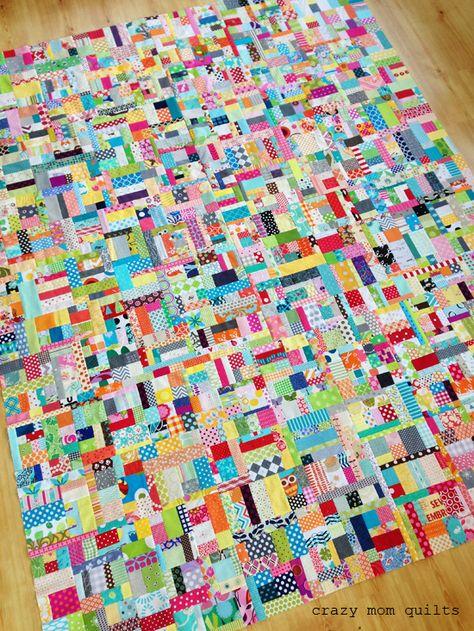 crazy mom quilts: scrapalicious quilt top - scrap vortex two