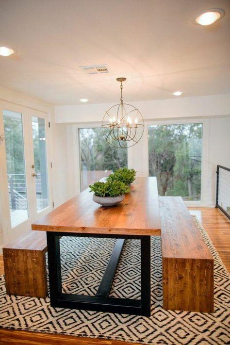 meuble de salle a manger, table bois et fer, banquettes en ...