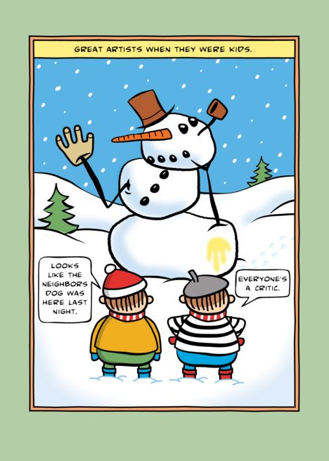 Christmas Card Artist.Funny Kid Artist Abstract Snowman Merry Christmas Card
