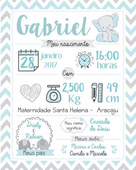 arte digital para impressao nascimento no Elo7 | Madi (9D148D)