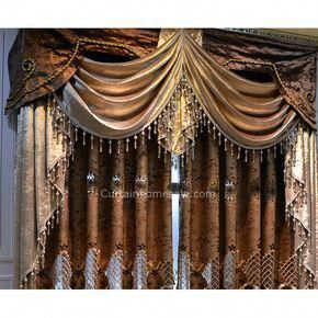 Luxury Victorian Vintage Living Room Curtain In Gold Brown Color