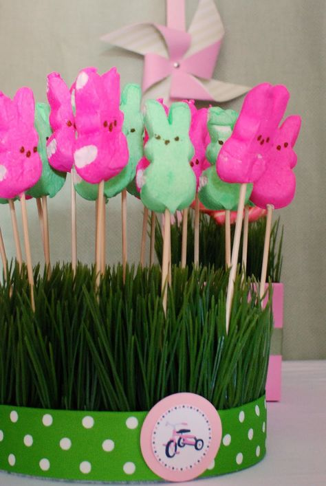 easter table centre - marshmallows on skewers   styro foam and fake grass base too easy !!!