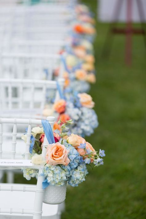 blue and peach wedding ceremony decor on the coast of Maine! blue and peach wedding ceremony decor on the coast of Maine!