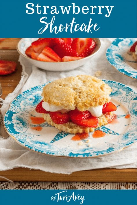 Strawberry Shortcake - American Cakes - the history of Strawberry Shortcake from food historian Gil Marks, and a delicious traditional recipe for Strawberry Shortcake. | ToriAvey.com #foodhistory #strawberryshortcake #strawberry #dessert #fruit #summerdessert #bakedgoods #baking #fromscratch #TorisKitchen