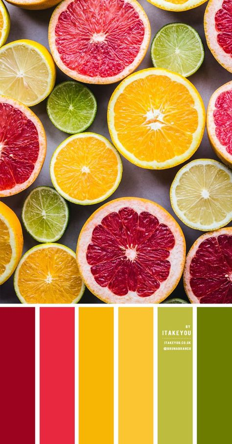 Citrus Color Scheme A beautiful summer color palette of dark red, mustard , yellow, lime , chartreuse, and green. Citrus colors are colors inspired by citrus fruits such as lemons, lime, grapefruits and oranges. Citrus has been popular over the year in both fashion and wedding. #branding #design #inspiration #color