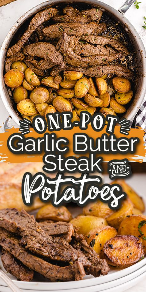 Garlic Butter Steak and Potato skillet has tender, juicy steak with delicious roasted potatoes made all in one pan! A perfect combination that the entire family will love (and devour!)