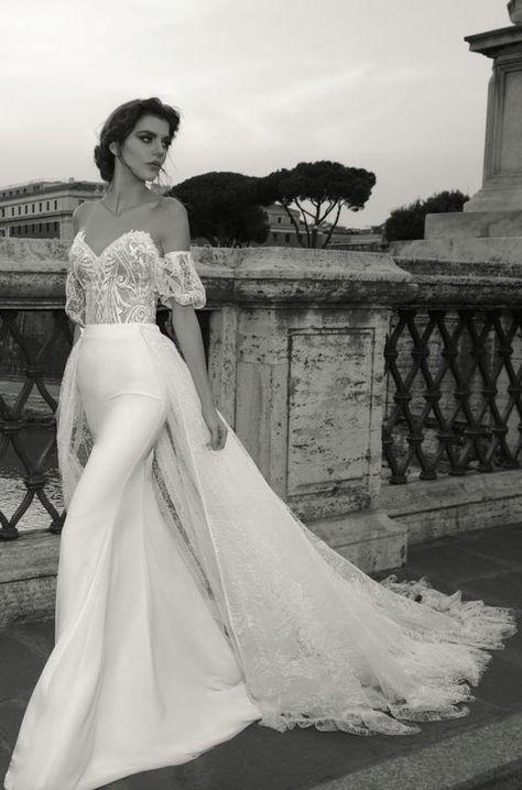 Unique Sequin Embellished Draped Back Wedding Dress