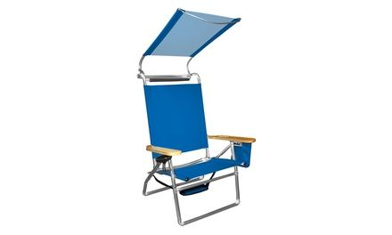 4 Position Aluminum Beach Chair With Canopy And Storage Pouch
