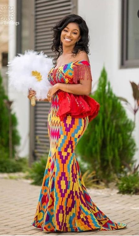 40 Gorgeous Wedding Dress Styles For Your African Traditional Wedding The Glossychic In 2020 African Fashion Dresses Kente Dress African Traditional Dresses