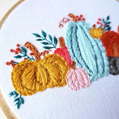 Fall Pumpkins Digital PDF Embroidery Pattern