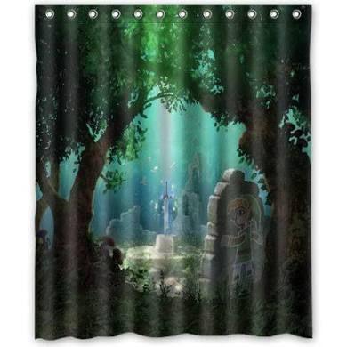 Deyou The Legend Of Zelda Sword Forest Pattern Shower Curtain