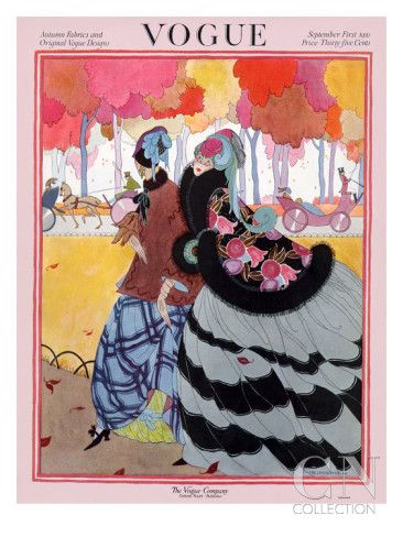 Fashion Illustration Design Vogue Cover - September 1921 Poster Print by Helen Dryden at the Condé Nast Collection - Vogue Cover Featuring Two Women At A Park by Helen Dryden