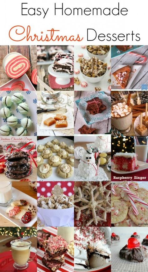 Easy Homemade Christmas Desserts. Pies, cakes, cookies, brownies! Something for everyone. #christmas #recipes #desserts