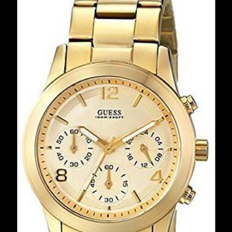 Guess Watch for Women GUESS Womens Contemporary Gold-Tone Chronograph Watch Click image f