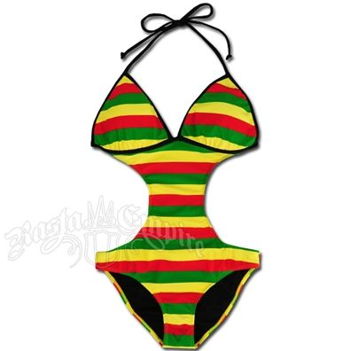 7dbe94a417b4e Rasta Empire Striped Monokini Swimsuit