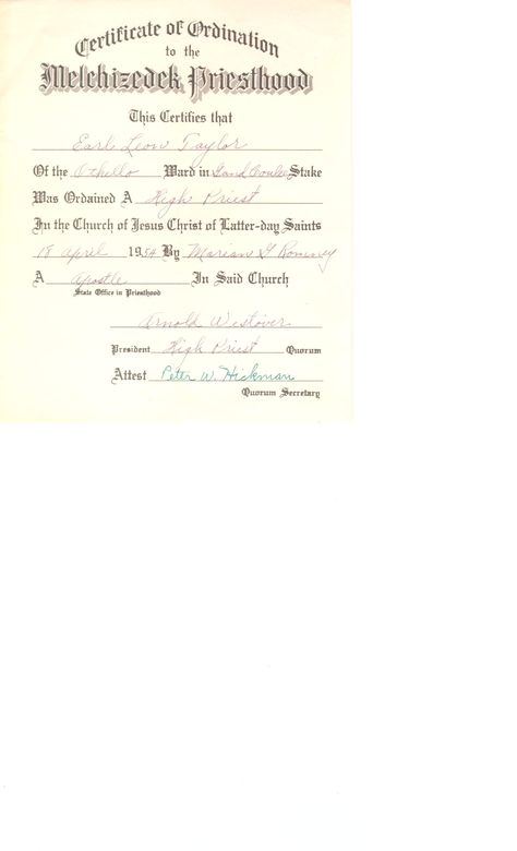 Certificate of Ordination to the Melchizedek Priesthood, Earl Leon - best of ordination certificate free