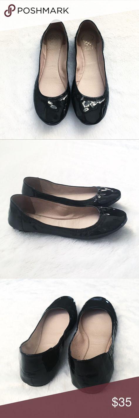 13d6aeeb0f5 Vince Camuto Patent Leather Ellen Ballet Flats Vince Camuto Black Patent Leather  Ellen Ballet Flats