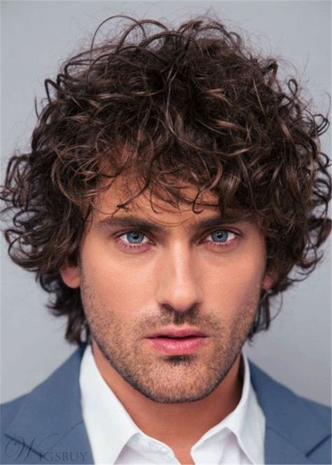Curly Full Lace Wig Human Hair Men's Wig#men's wigs#wigs#fashion