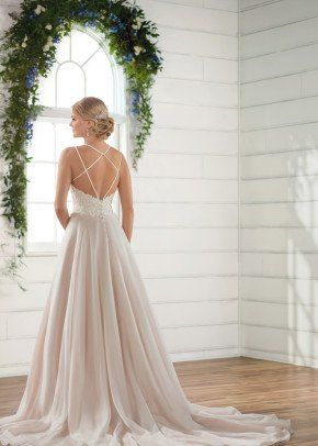 A Line Wedding Dress Idea Criss Cross Back With Tulle Skirt Style D2420 From Essense Essense Of Australia Wedding Dresses Beach Wedding Gown Wedding Gowns