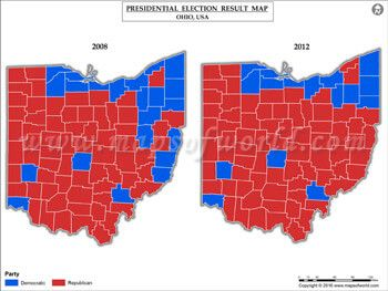 Ohio Election Results Map 2008 Vs 2012 USA Presidents Election