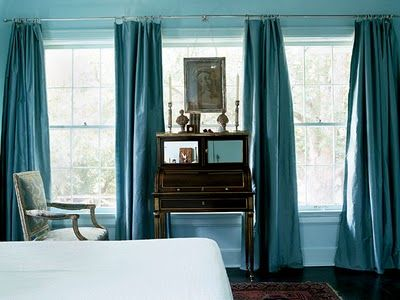 Three windows of curtains... one curtain rod. Love.   For the Home    Pinterest   Window, Room and Living rooms