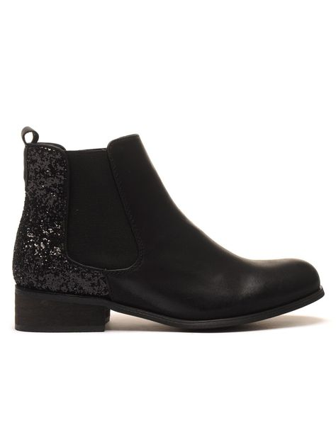 Chelsea boots noirs à paillètes pas cher