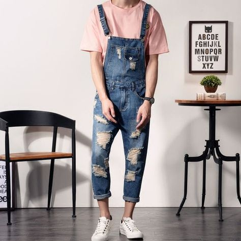 Cheap jumpsuits designer, Buy Quality jumpsuit catsuit directly from China jumpsuit denim Suppliers: 2017 New Mens Bib Overalls Fashion Ankle Length Denim Overalls Men Ripped Jeans Male Denim Jumpsuit Cute Overalls, Denim Overalls, Denim Jumpsuit, Jumpsuit Outfit, Overalls Fashion, Denim Fashion, Outfit Jeans, Jean Outfits, Men's Fashion Styles
