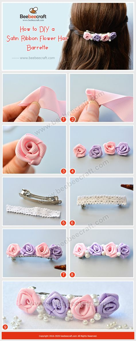 Tremendous Ribbon Flowers Red Roses Embroidery Ideas Embroidery Satin Flower How to make Satin Ribbon Flower Hair Barrette With satin ribbons and some glass pearl beads, a hair barrette can be easily made in 6 minutes. Satin Ribbon Flowers, Ribbon Art, Ribbon Crafts, Flower Crafts, Ribbon Bows, Fabric Flowers, Satin Ribbons, Crafts With Ribbon, Flower Making With Ribbon